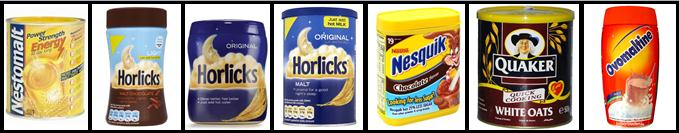 Horlicks, Nestomalt, Nesquek, Ovomaltine